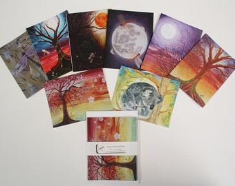 Gift / Note Card Pack of 5 - Whimsical Nature Art featuring my Watercolour & Acrylic Paintings - Choose your designs