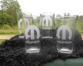 Set of 4 sandblasted drinking glasses, rock size ...12 oz. rock glasses or 16 oz tall glasses