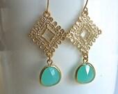 Aquamarine Mint and Golden Texture Filigree Dangle Earrings.  Drop Earrings.  Classic Jewelry. Bridesmaids