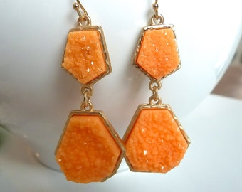 Druzy Drusy Gold Plated Dangle Tangerine Melon Dangle Earrings. Gift Ideas. Jewelry For Her