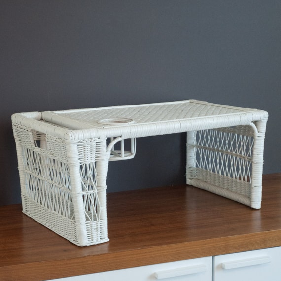 vintage white wicker breakfast in bed tray with drink holder