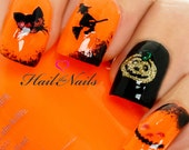Halloween Nail Art Wraps Glitter Stickers Decals Skulls Ghost Pumpkin Bats Witch Y924