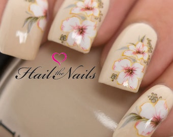 Lily tattoo etsy white lily nail art wraps water transfersnails decals y829 salon quality bridal prinsesfo Image collections
