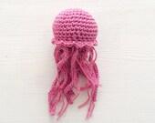 Jellyfish Fibre Art, Pink Crochet Jellyfish, Amigurumi Home Decor