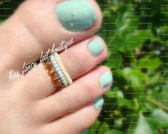 Stacking Toe Ring - Topaz Cat's Eye Beads - Cream - Mint Stretch Bead Toe Ring