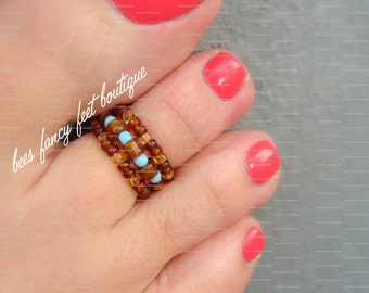 Stacking Toe Ring - Topaz Luster Mix - Baby Blue Stretch Bead Toe Ring