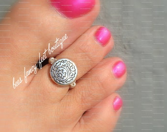 Toe Ring - Silver Wind Wave Coin Stretch Bead Toe Ring
