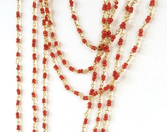 Coral Gold Rosary Chain, Glass Bead Chain, 3mm, 5Ft
