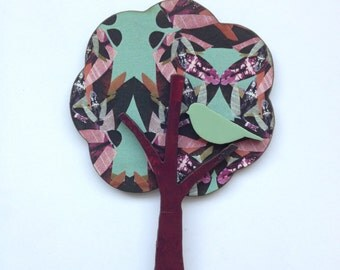 Tree & Bird Brooch - Laser Cut Insect Patterned Wood