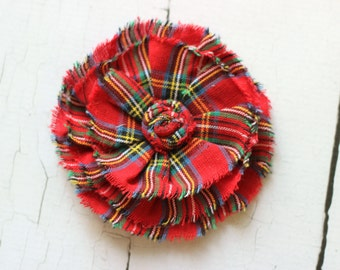 ADD ON Large Red Plaid Flower