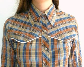 Vintage 70's Western Style Button Down Shirt