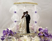 Lighted African American Wedding Cake Topper or Centerpiece, Uniquely Designed, Custom Made & Individually Handcrafted, Item#Wed-03-008A