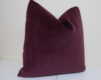 Plum Velvet Pillow Cover -J P Martin Velvet - Decorative throw pillow  - Velvet Cushion - 18 x  18, 20 x 20, 22 x 22, 24 x 24, 26 x 26