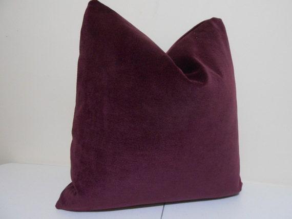 Plum Velvet Pillow Cover J P Martin Velvet Decorative throw