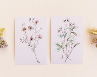 Beautiful Botanical Print Set, Set of 2 Floral Prints