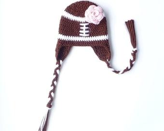 Baby Girl Football Hat Baby Earflap Hat Girl CROCHET PATTERN Newborn Girl Football Hat Ear Flap Hat Football Beanie Crochet Earflap Hat