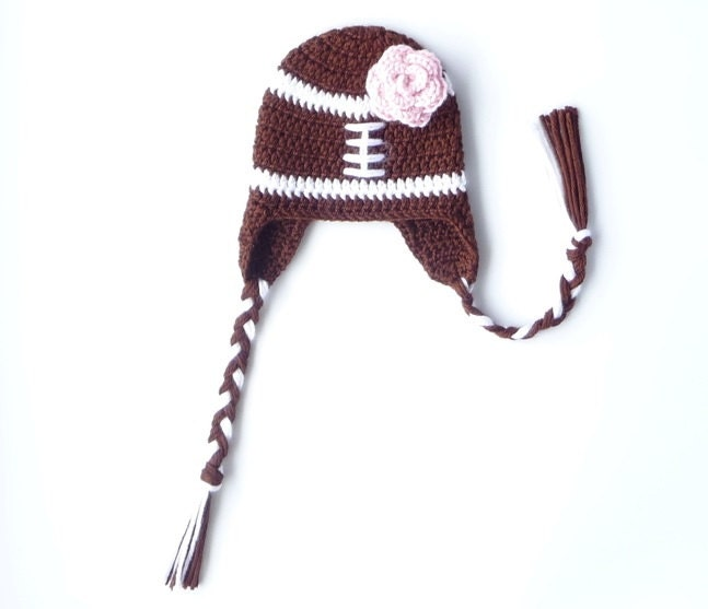 Crochet Pattern Baby Hat Free : Football Baby Hat CROCHET PATTERN Football Baby Girl Football