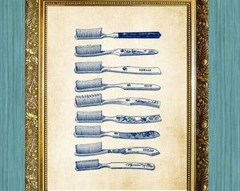 Toothbrush Art Print Print 8 x 10 Bathroom Print Bathroom Art