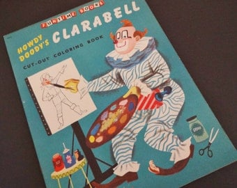 """Vintage """"Clarabell"""" Cut-Out Coloring Book - 1955 Pocket Books - Early TV - The Howdy Doody Show - Childrens Book - Collectible - Unused"""