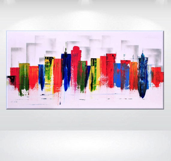 "Abstract Painting urban art Skyline colorful contemporary art acrylic handmade 24 x 48"" stretched canvas art"