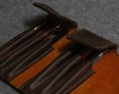 Handmade  Leather Pen case-pen bag for parker-dark brown leather.