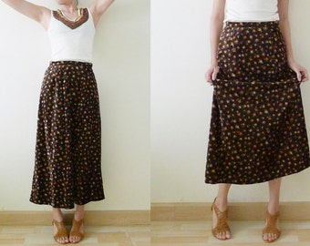 Vintage Brown Velvet maxi skirt, with cute orange roses printed, high waist, a line,side zipper closure, made in Japan,  XS-S