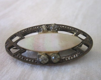 Antique Sweet Mother of Pearl & Faux Diamond Pin Brooch