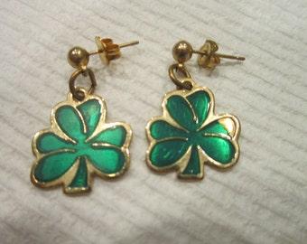 Vintage Shamrock Four Leaf Clover Irish Dangle Pierced Earrings