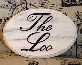 "Adorable Bathroom Sign / The Loo (white) (5x7"")"