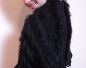Hand Made Knitted Women  Balck Sexy Caplet Mother's Day Gift Fur Yarn Antique large Rhine Stone Button,Soft Fur Feeling