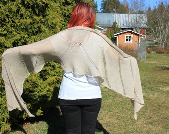 Knit lace wrap, shawl, beige, sand brown. Baby alpaca and mulberry silk lace. Hand knit, handmade