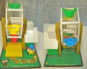 Fisher Price Little People. Vintage Ferris Wheel. Musical. Wooden Original Little People and Dog. 1966. #969.