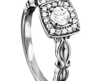 Certified diamond engagement ring 0.58 ctw 14 k white gold hand made