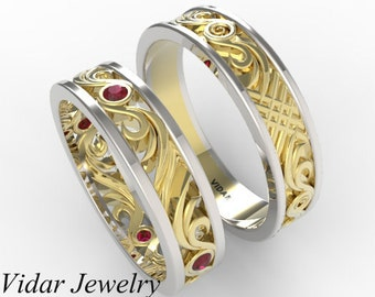 Matching Wedding Band Set,His and Hers Ruby Wedding Band Set,Unique Matching Wedding Band Set In Yellow And White Gold,Two Tone Gold
