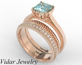 princess cut aquamarine wedding ring setunique gold and diamonds ring setaquamarine wedding ring setrose gold wedding setunique ring set - Rose Gold Wedding Ring Sets