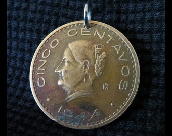 "Classic Antique (1944 Vintage Mexican Cinco Centavos ""Abuelita, Josefa Domínguez"" Bronze Coin Pendant, Stainless Steel Bail) WWII era RELIC!"