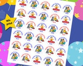 30 ct personalized Caillou stickers birthday party favor tags labels cupcake toppers decoration