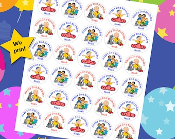 60 ct personalized Caillou stickers birthday party favor tags labels cupcake toppers decoration