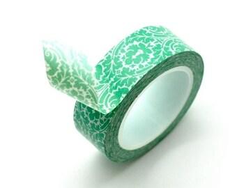 Washi Tape Paper Masking Tape - Green Damask