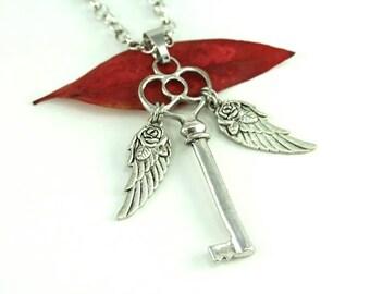 Flying Key Necklace, Flying Key Jewelry, Key Pendant Necklace, Magic Fantasy Whimsical, Skeleton Winged Key, Statement Necklace, Fairy Tales