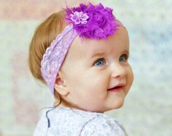 purple lavender baby headband/ Shabby chic Headband /Baby headband/ newborn headband/ flower headband/ baby girl headband