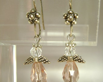 Silver and Pink Angel Earrings