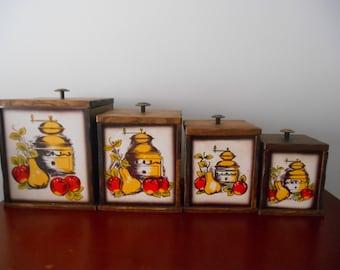 Vintage Wooden Canister Set,Canisters,Vintage Canisters,Wooden Canisters,Country Decor,Country Kitchen,Farmhouse Decor, Farmhouse Kitchen