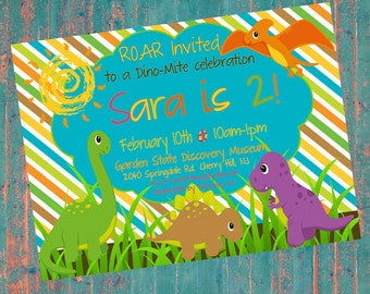 Customized Dino Party Invitation- Digital File