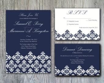 Elegant Damask Inspired Wedding Invitation Set - Sample