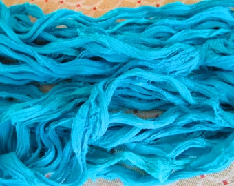 Sari Silk Chiffon Skein,  60 Yards,   Turquoise ,  Fair Trade Item