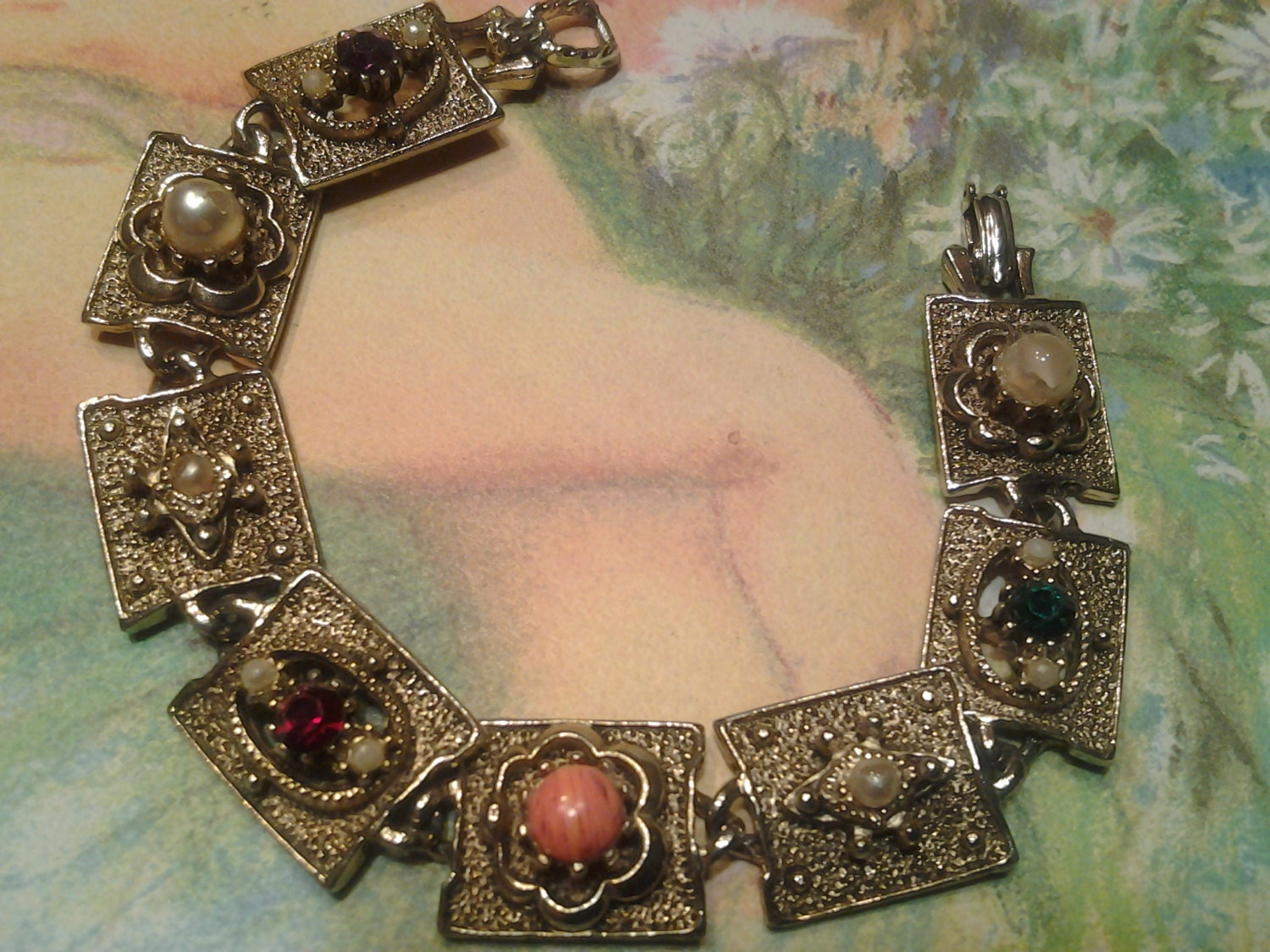 vintage costume jewelry antique charm bracelet by