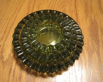Vintage Stacking  Green Ashtrays Set Of Three 1960,s