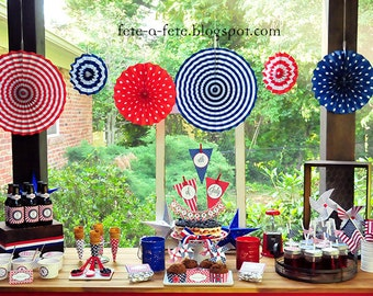Sale!!  Red, White & Blue INDEPENDENCE, MEMORIAL or VETERANS Day Editable Printable Kit - as seen on Karas' Party Ideas