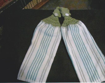 Crocheted Hang Towels- Green Stripe Towel